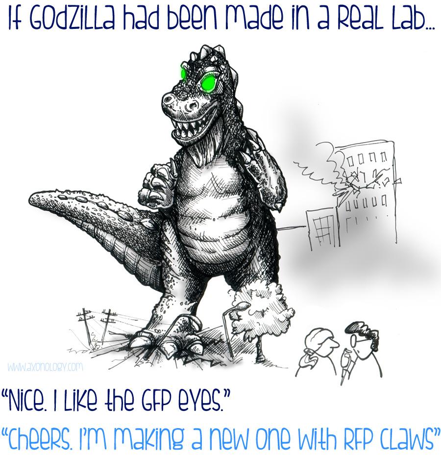 Godzilla with scientists