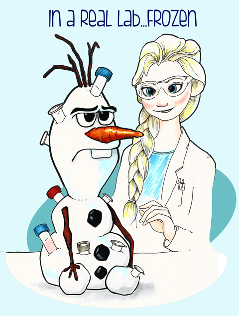Olaf and Elsa in a lab