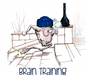 Cartoon neuron running up steps