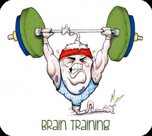 cartoon neuron lifting weights